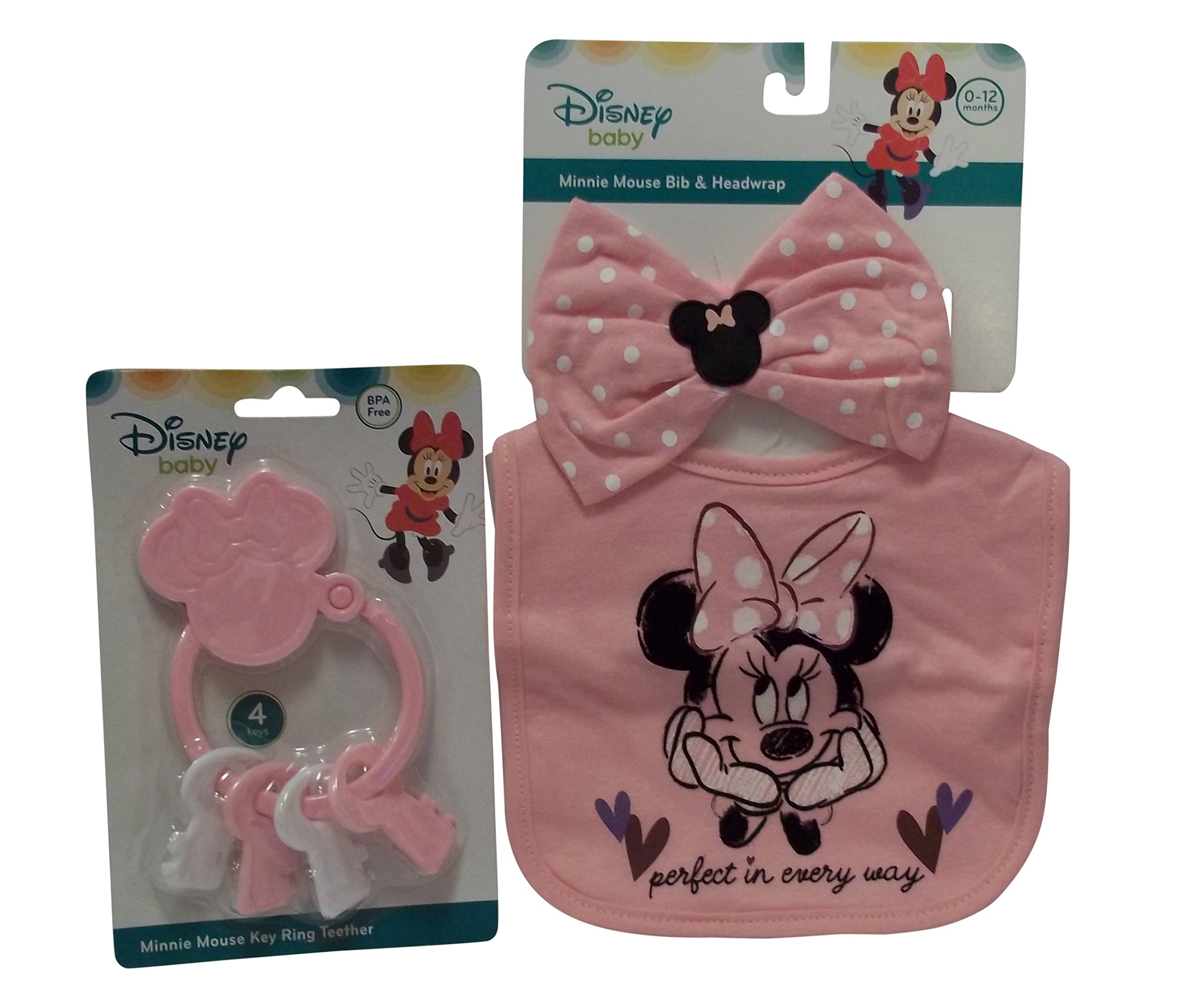 Disney Bib with Bow & Key Ring Teether Set (Minnie Mouse)