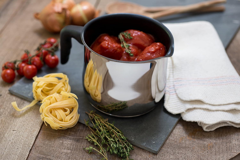 Zinel Cazo antiadherente para salsas/hervir/calentar leche, con mango de baquelita, de acero inoxidable, color plateado, 15,2 x 15,2 x 12,7 cm.
