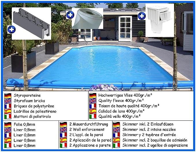 Piscina de poliestireno forma de rectangular Kit Spar 3, 50m x 7, 00m x 1, 50m liner 0, 8mm: Amazon.es: Jardín