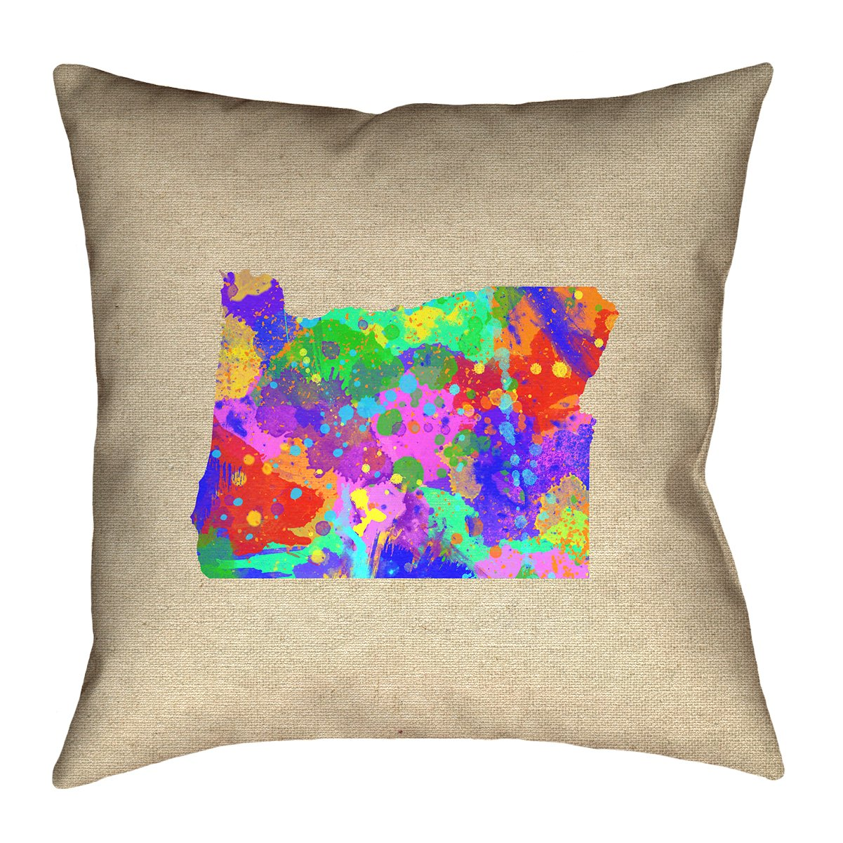 ArtVerse Katelyn Smith 20 x 20 Cotton Twill Double Sided Print with Concealed Zipper /& Insert Oregon Watercolor Pillow