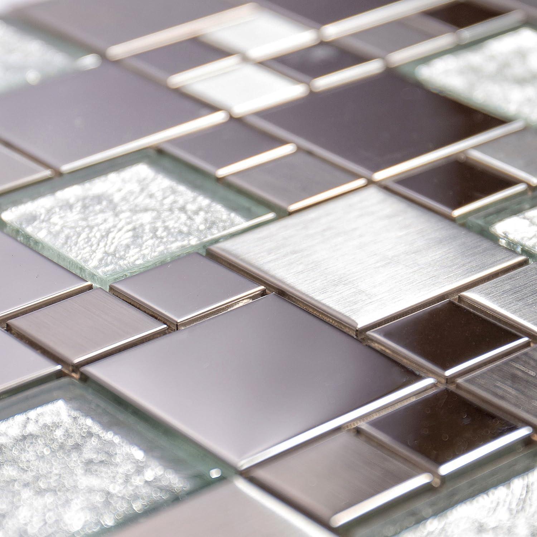 Metallic Random Silver Mix Mosaic 300 x 300mm The Bath People