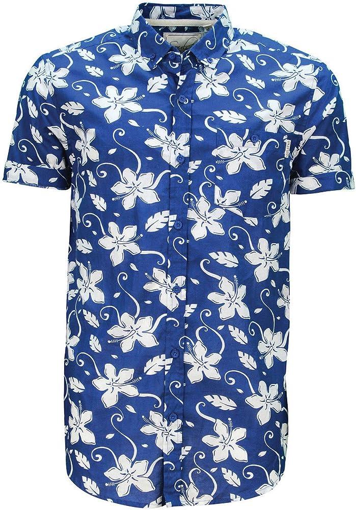 Soulstar Hombre Tiki 6 Algodón Floral Camisa Estampada Con Botones Top Con Volteado Mangas - algodón, Azul Real, 100% algodón, hombre, Size - L - 40-42