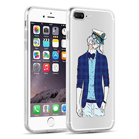 Funda De Silicona iPhone 8 Plus, iPhone 7 Plus Case, JAMMYLIZARD Carcasa Transparente [ Sketch ] Gel Flexible Duradero Resistente Back Cover, Marinero
