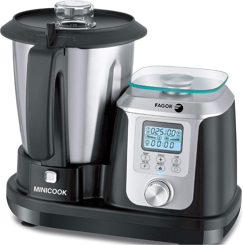 FAGOR Robot de cocina MINICOOK. 1200W de potencia y 10 programas preinstalados. Balanza integrada y vaso de 2.5L. Temperatura: 30-120 grados. Compatible con la app TUYA donde encontrarás las recetas