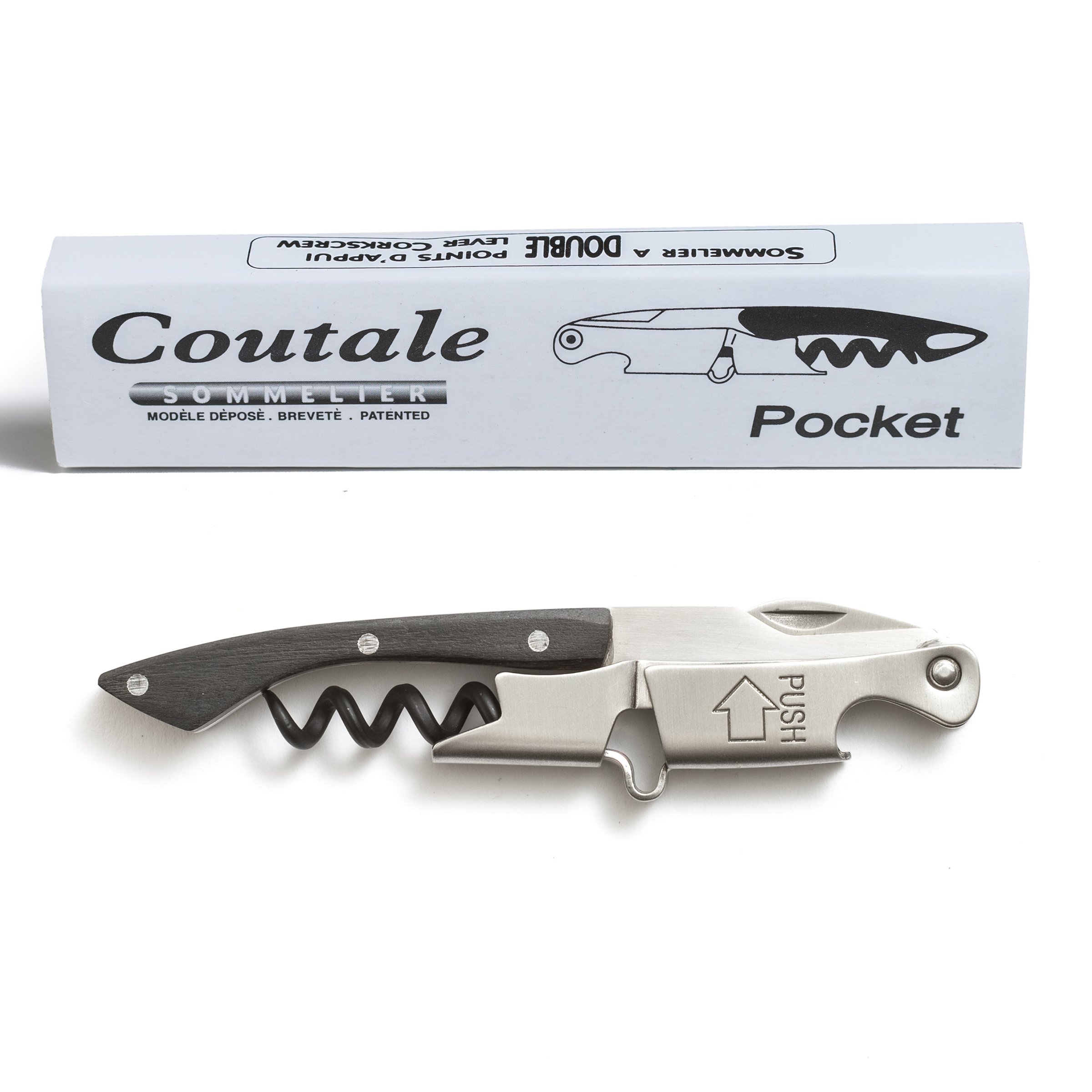 Pocket By Coutale Sommelier - The French Patented Spring-Loaded Double Lever Waiters Corkscrew and Wine Bottle Opener (Blackwood) by Coutale Sommelier