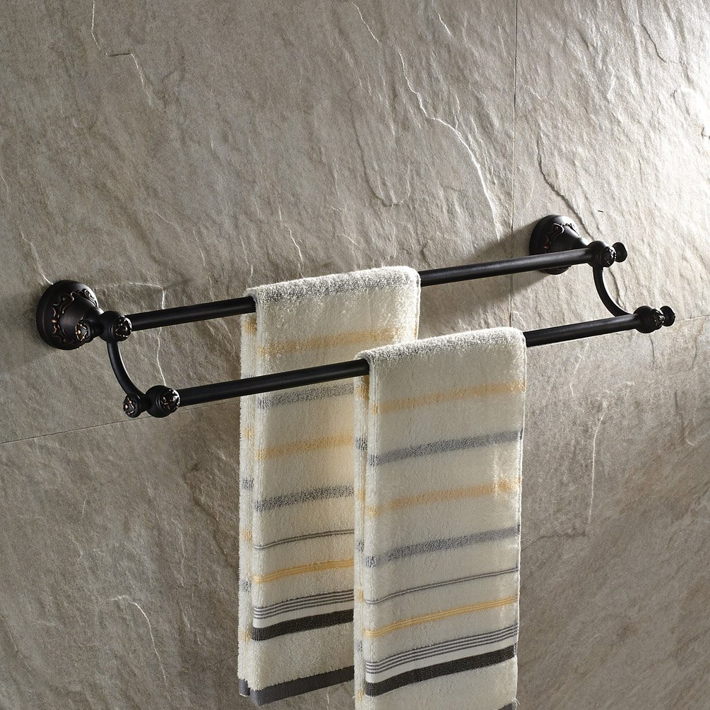 GUMA Wall Mounted 24-inch Double Towel Bar Solid Brass Bathroom Shower Towel Rack Oil Rubbed Bronze Finish by GUMA