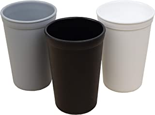 product image for Re-Play Made in the USA 3pk Heavy Duty 10 oz.Drinking Cups  Eco Friendly Recycled HDPE - Virtually Indestructible   Grey,Black,White(Monochrome)