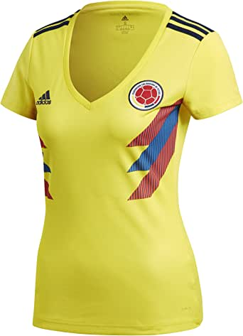 Adidas Colombia - Camiseta de fútbol para mujer - BR3507, S, Amarillo brillante/Azul marino universitario.: Amazon.es: Ropa y accesorios