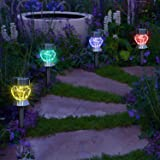 Garden mile® Pack Of 4 colour changing LED Lights Solar Lights LED Solar Lights Garden Outdoor Lighting Garden Ornaments Pathway Lights