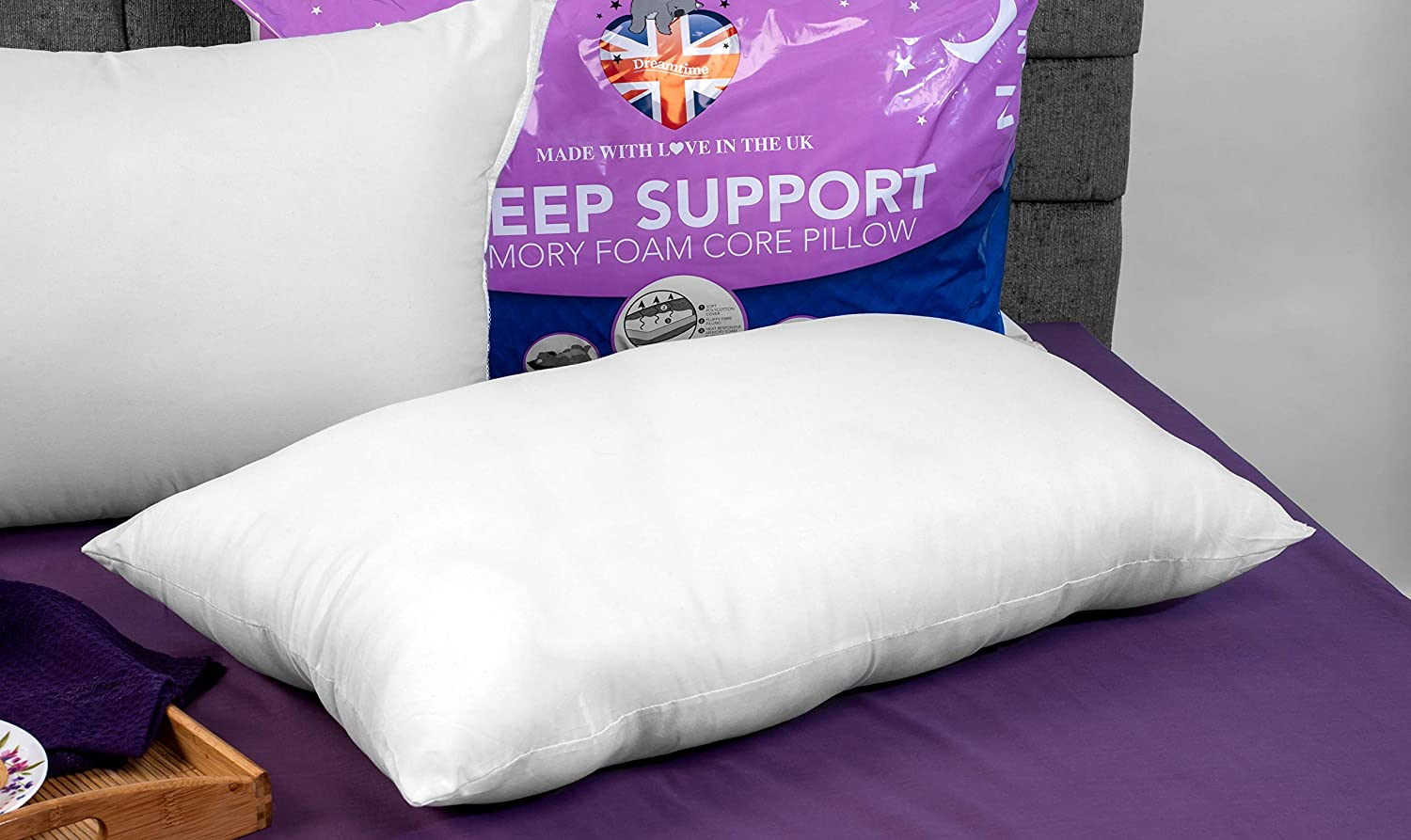 Set of 2 DreamTime MF02599UP Sleep Support Memory Foam Core Pillows