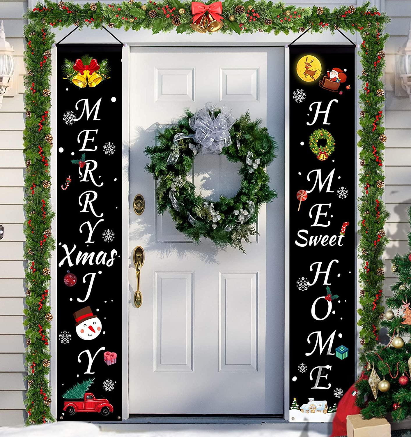 HexyHair Merry Christmas Decorations Banner, Outdoor Christmas Porch Sign Hanging Welcome Banners for Sweet Home Indoor Front Door Xmas Decor