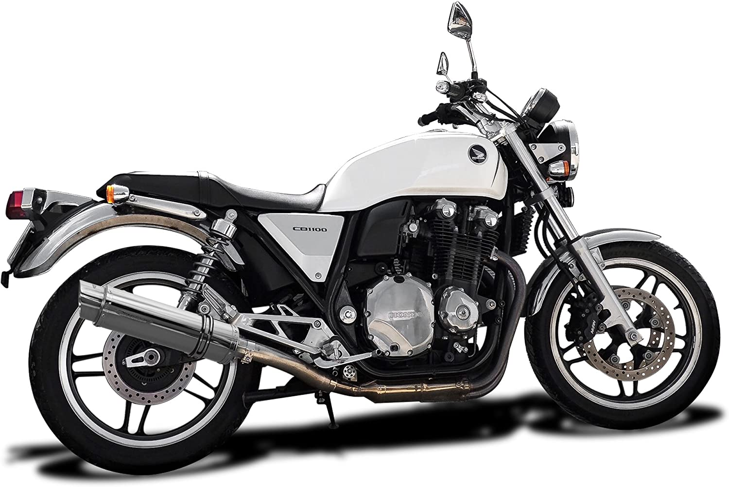 Delkevic Aftermarket Slip On compatible with Honda CB1100 SL10 14 Stainless Steel Round Muffler Exhaust 13-14