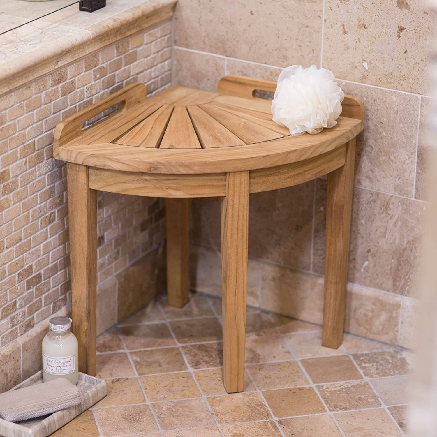 Amazon.com: Belham Living Teak Corner Shower Stool: Home & Kitchen