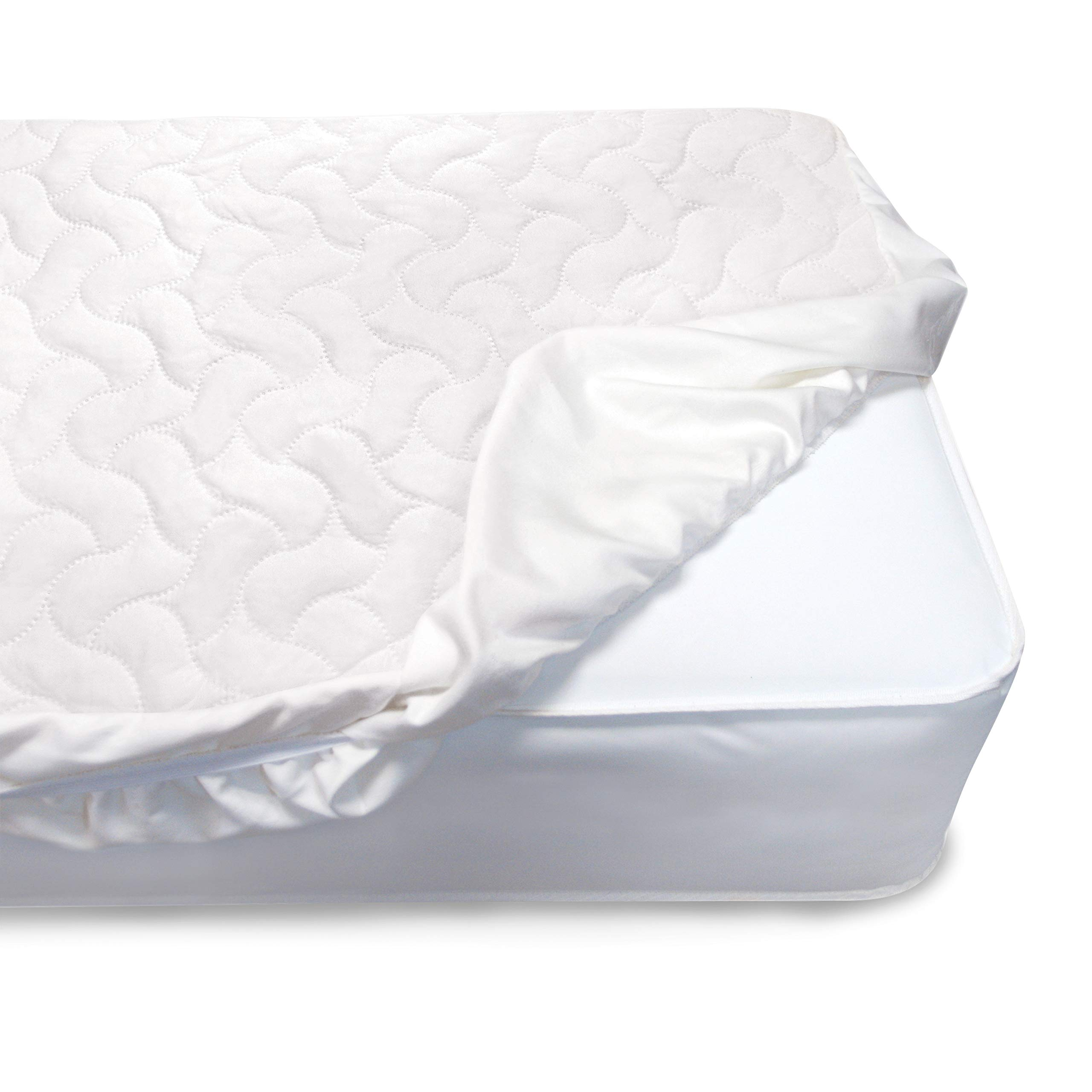 Serta Sertapedic Crib Mattress Pad Cover/Protector with Nanotex Stain Repel and Release, White