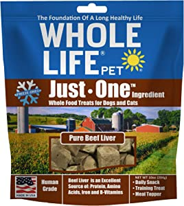 Whole Life Pet Products USA Sourced and Produced Human Grade Freeze Dried Beef Liver Dog and Cat Treat Value Pack, Protein Rich for Training, Picky Eaters, Digestion, Weight Control, 10 Ounce (BL380)