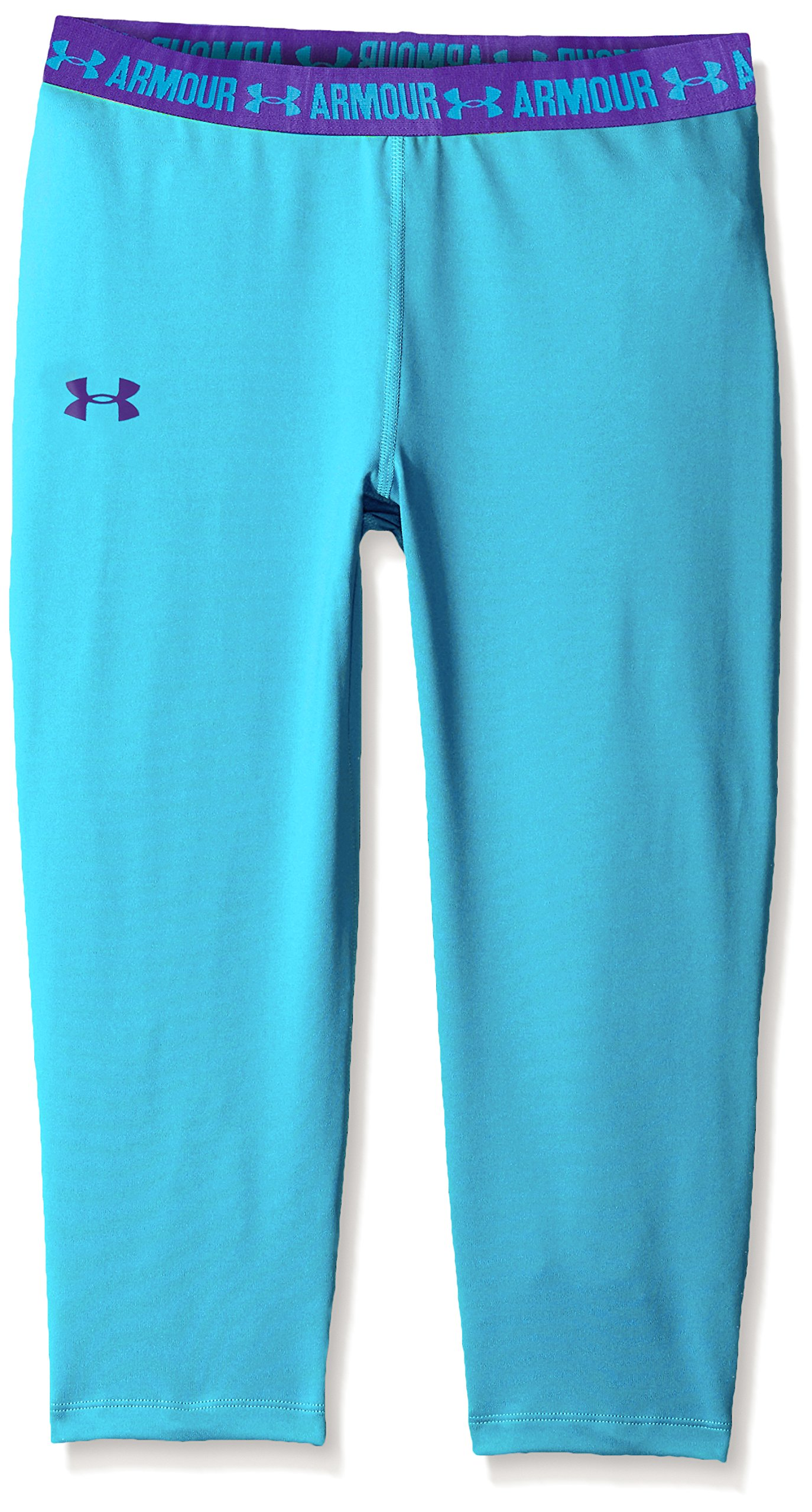 Under Armour Girls HeatGear Armour Solid Capri, Meridian Blue , Youth Small