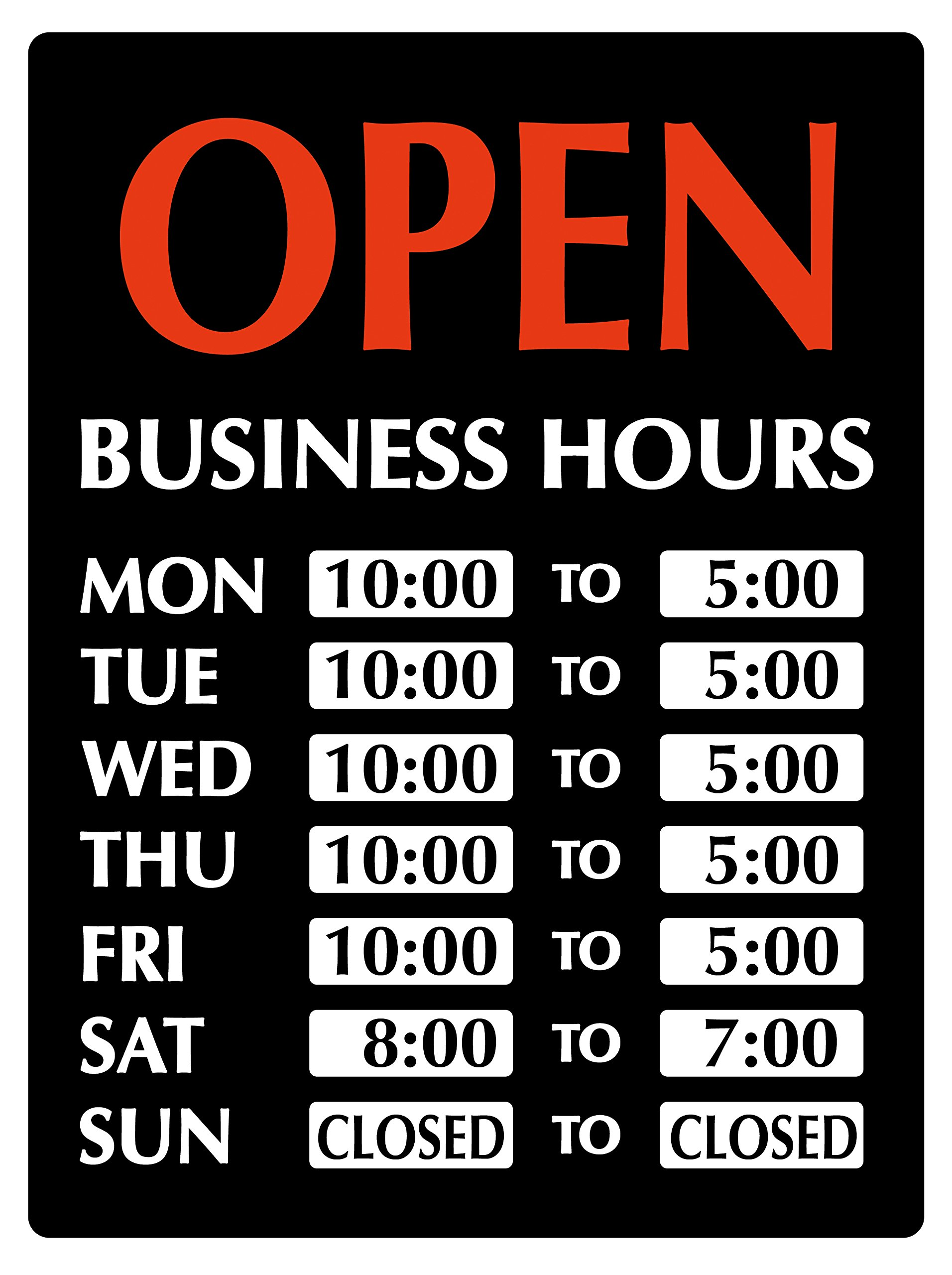 Newon LED Lighted OPEN Sign with Business Hours, 23.4'' x 20.4'' x 1.2'', Black/White/Orange (9442)