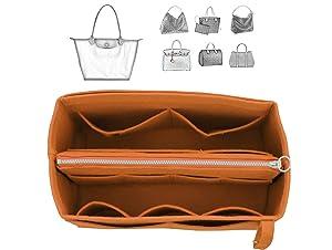 [Fits Long.champ Bags] Felt Tote Organizer (w/Detachable Zipper Bag), Bag in Bag, Wool Purse Insert, Customized Tote Organize, Cosmetic Makeup Diaper Handbag