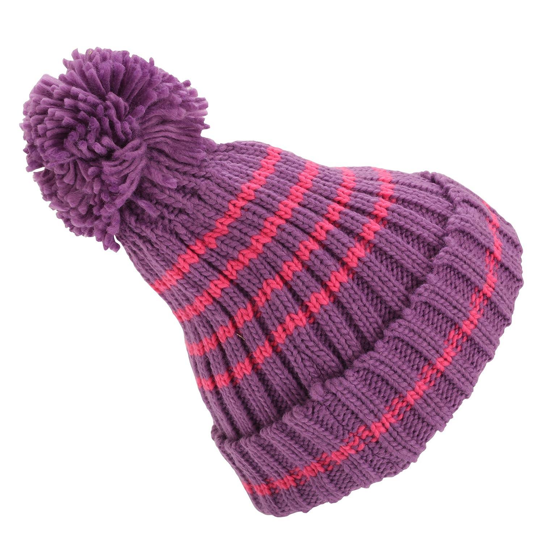 Universal Textiles Childrens/Kids Girls Striped Winter Bobble Hat