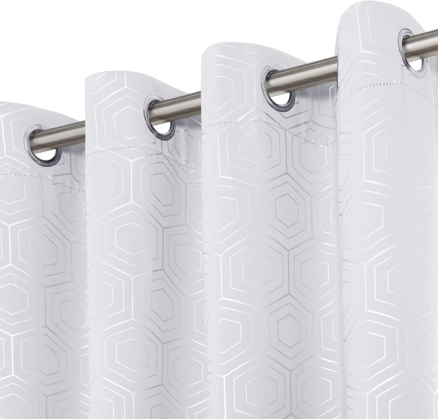 Deconovo Blackout Curtains Geometrical Pattern Thermal Insulated Noise Reducing White Grommet Curtains for Living Room and Dining Room Greyish White 52x63 Inch 2 Panels