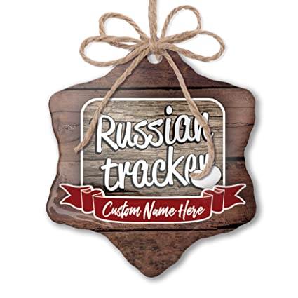 Amazon com: NEONBLOND Custom Family Ornament Russian Tracker, Dog