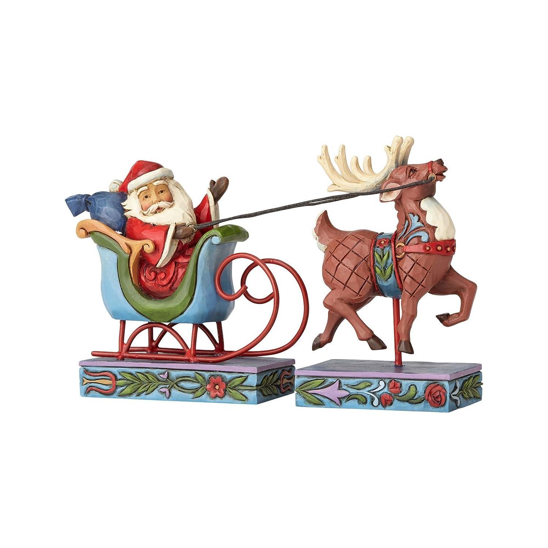 Jim Shore for Enesco Heartwood Creek Santa Sleigh Reindeer Figurine