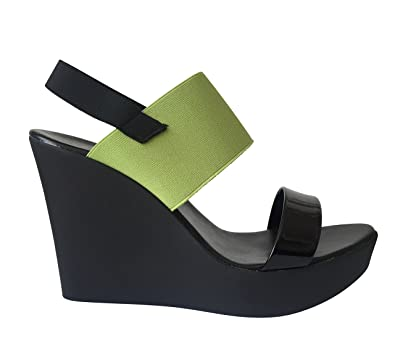 NR Rapisardi Firenze Made In Italy Platform Designer Sandals Patent Open Toe Slip On Womens Ladies Wedges w/Slingback Elastic High Heel Ankle Strap B01KA6F7KQ
