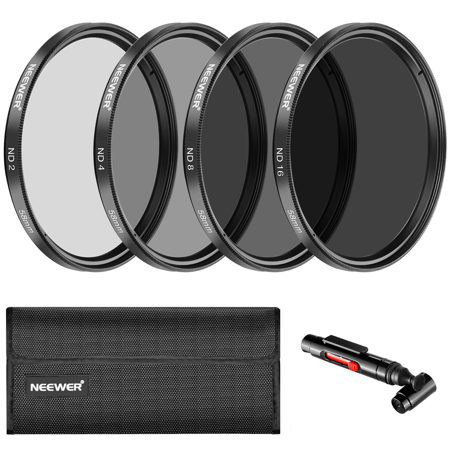 Neewer 58MM Neutral Density ND2 ND4 ND8 ND16 Filter and Accessory Kit for Canon EOS Rebel T6i T6 T5i T5 T4i T3i SL1 DSLR Camera, Lens Pen, Filter PouchIncluded by Neewer