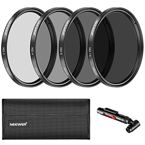 Neewer 58MM Neutral Density ND2 ND4 ND8 ND16 Filter and Accessory Kit for CANON EOS Rebel T6i T6 T5i T5 T4i T3i SL1 DSLR Camera, Lens Pen, Filter Pouch Included