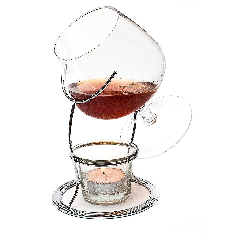 CKB LTD Brandy & Cognac Snifter Warmer Glass Stand Gift Set with Tealight Candle & Crome Holder - Premium Drinking Set