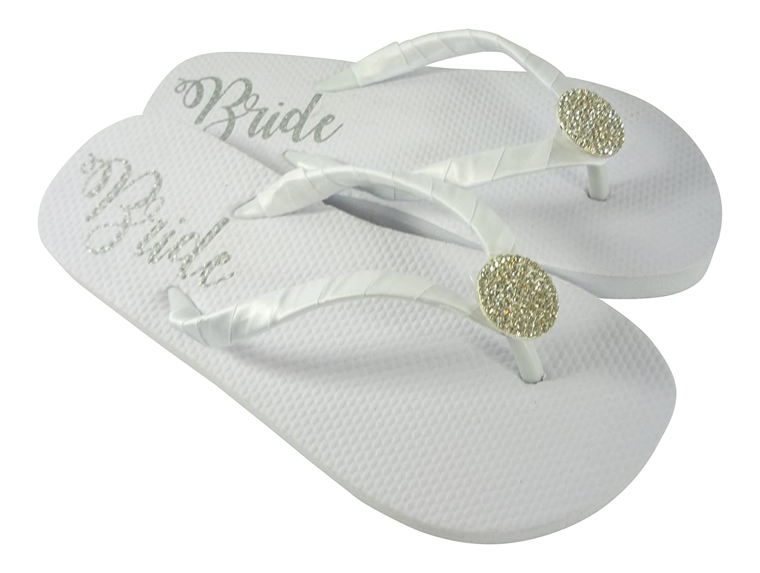 ddbbbe4be Amazon.com  Bride Flip Flops  Rhinestone Centerpiece Jewel Bride Sole Flat  Wedding  Handmade