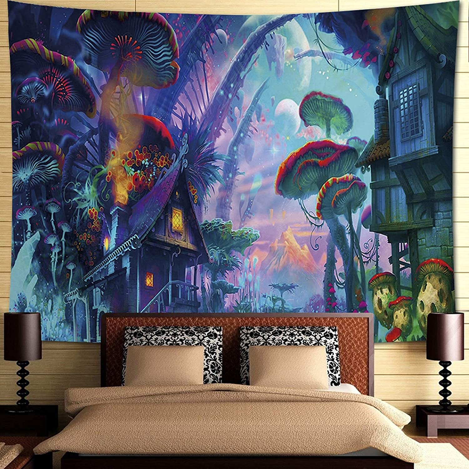INTHouse Psychedelic Forest Tapestry Wall Hanging Magic Land Tapestry Wall Decor for Bedroom College Dorm Room