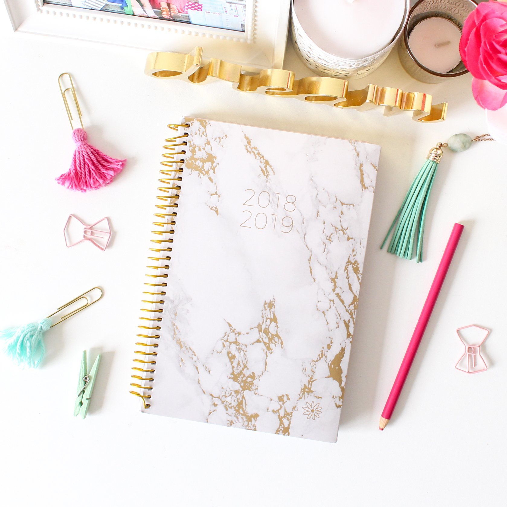 bloom daily planners 2018-2019 Academic Year Day Planner - Monthly and Weekly Calendar Book - Inspirational Dated Agenda Organizer - (August 2018 - July 2019) - 6'' x 8.25'' - Marble by bloom daily planners (Image #1)