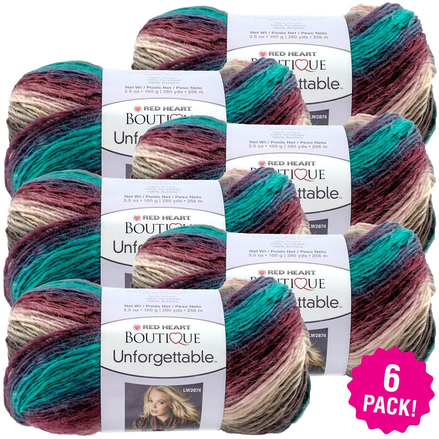 Red Heart 99471 Boutique Unforgettable Yarn 6/Pk-Tealberry, Pack