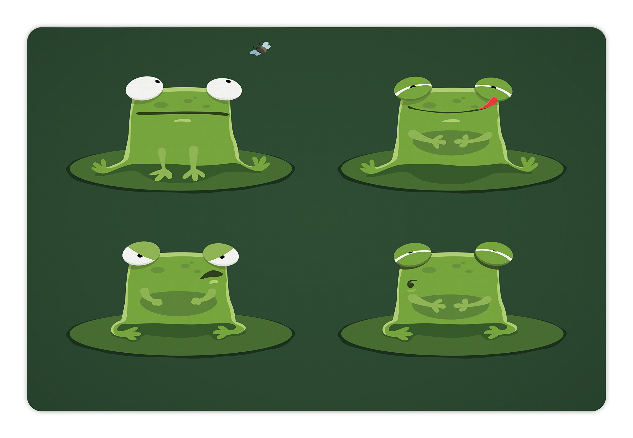 Ambesonne Funny Pet Mat for Food and Water, Funny Muzzy Frog on Lily Pad in Pond Hunting Tasty Fly Expressions Cartoon Animal, Rectangle Non-Slip Rubber Mat for Dogs and Cats, Bottle green