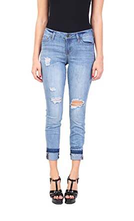d5a5978a Celebrity Pink Women's Distressed Fashion Blue Jeans | Middle Rise Ankle  Skinny Jeans | Button-