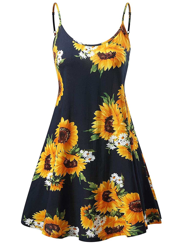 MSBASIC レディース サマードレス ノースリーブ 調節可能なストラップ 夏 ビーチ スイングドレス B07CLHTQFY Small Sunflower 1 Sunflower 1 Small