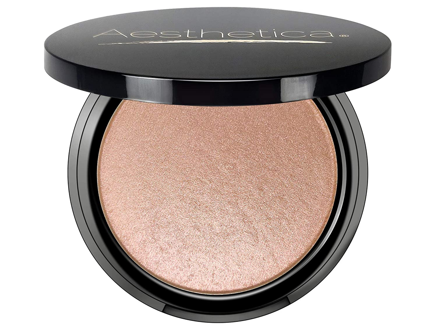 Aesthetica Starlite Highlighter - Metallic Shimmer Highlighting Makeup Powder - Cosmos (Sparkling Rose Gold)