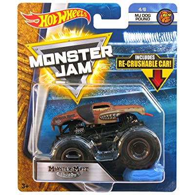 Hot Wheels Monster Mutt Junkyard Dog MJ Dog Pound Jam Diecast with Recrushable Car: Toys & Games