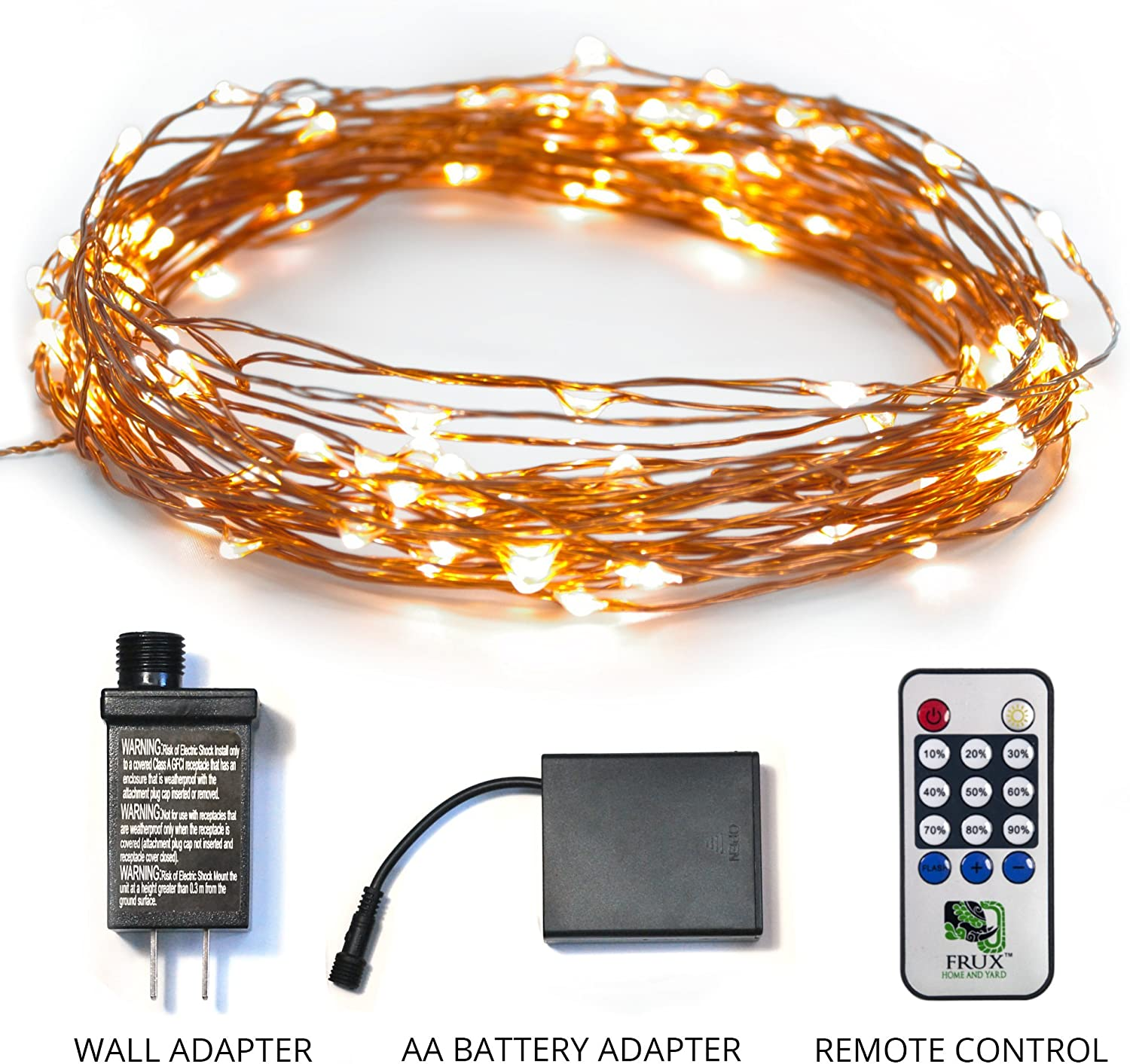 Amazon Com Twinkling Led Fairy String Lights Fully Waterproof Indoor Outdoor 39ft 100 Bulb Standard Plug In Battery Powered Warm White Copper Wire Decorative Lighting With Remote Control Garden Outdoor