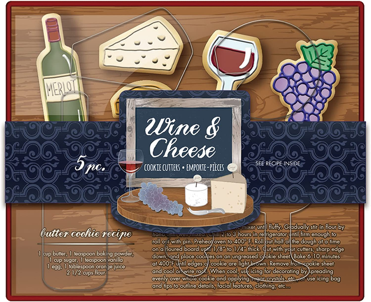 Fox Run Wine and Cheese Cookie cutters, 5.5 x 7.25 x 1.25 inches, Metallic