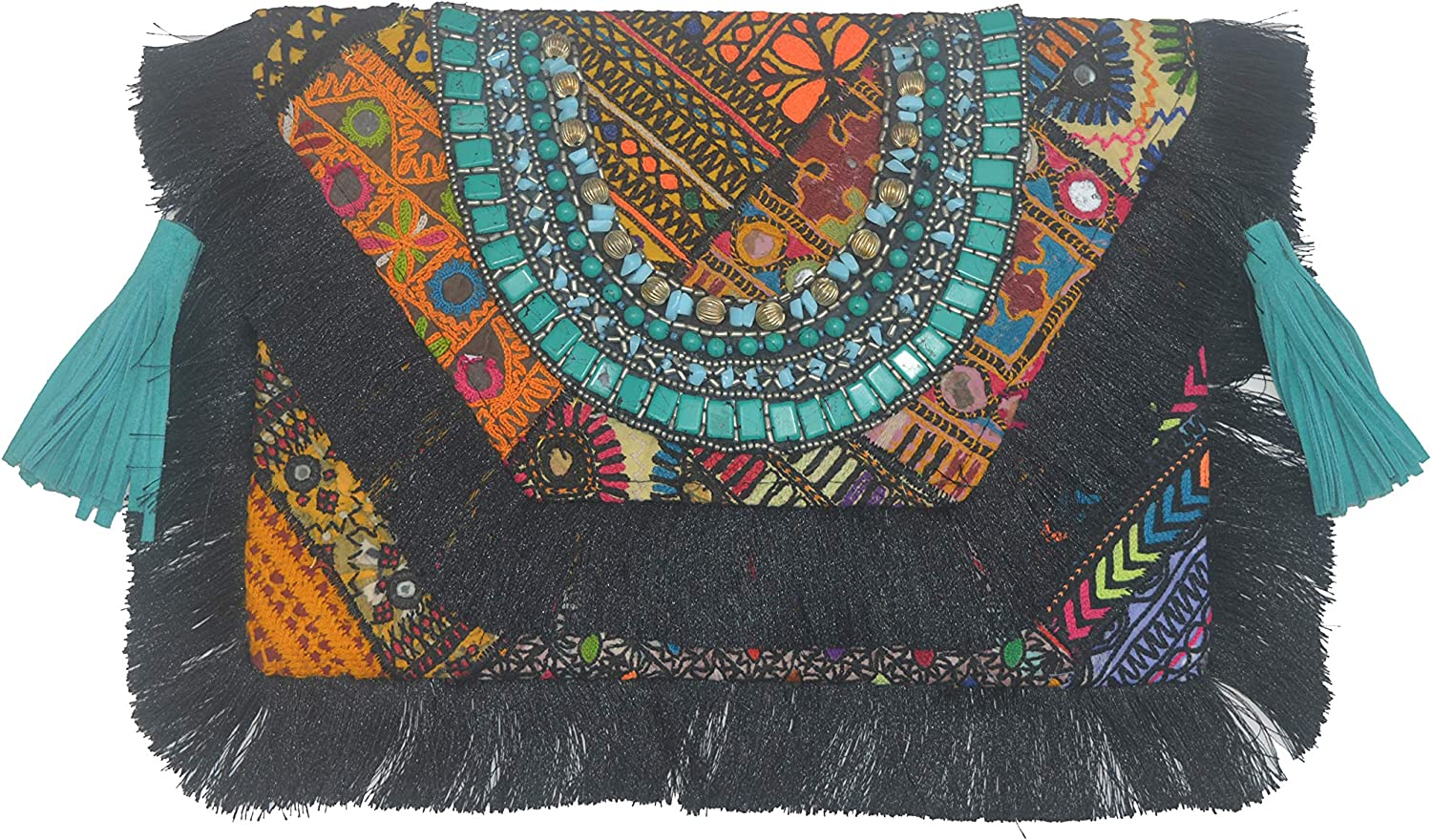 MATSAYA RECYCLED BANJARA FABRIC BOHO NECKLACE CLUTCH BAG BLACK 12 W X9 H.