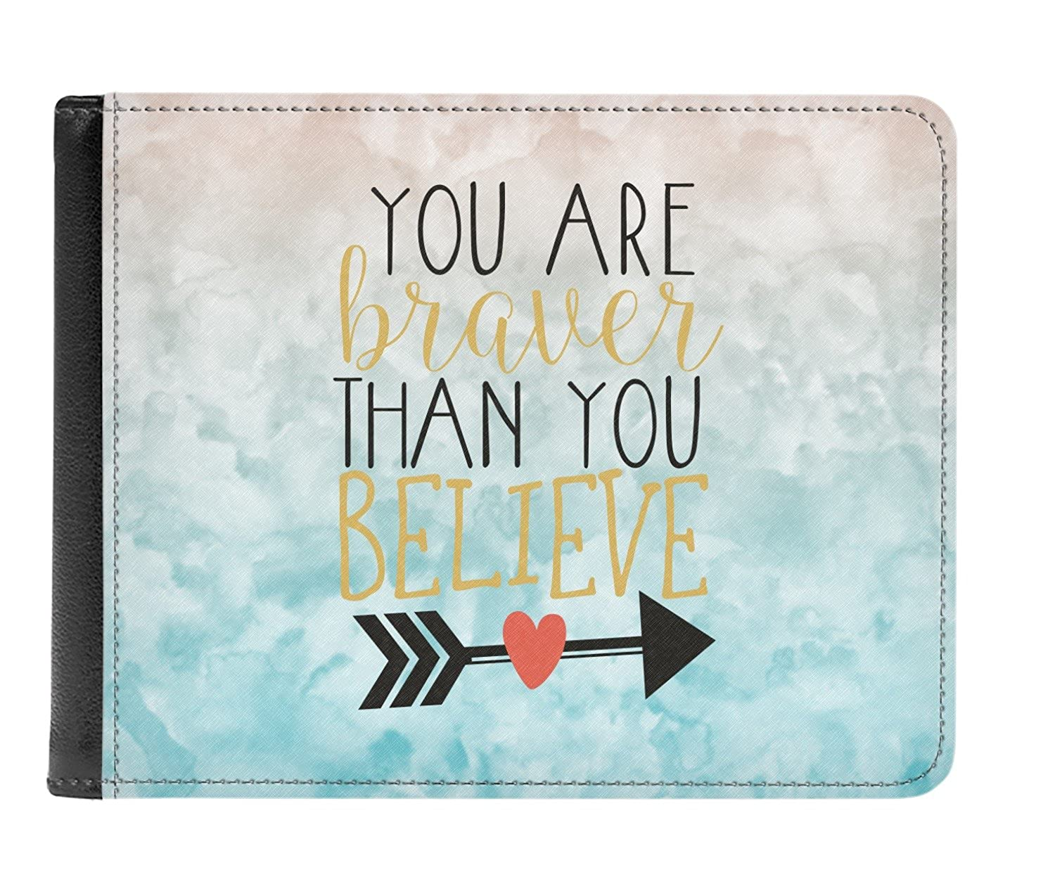 Inspirational Quotes Genuine Leather Mens Bi Fold Wallet