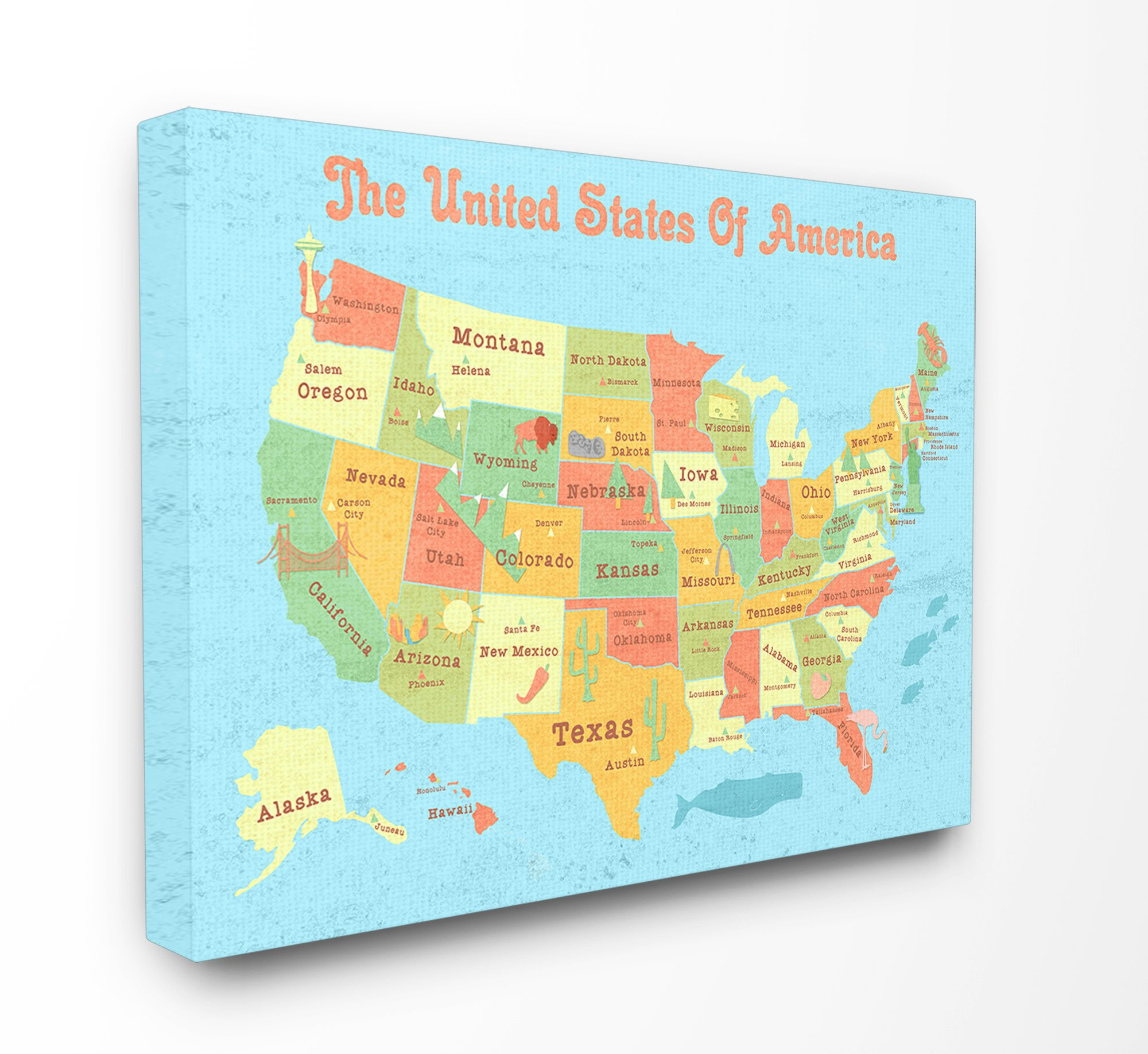 Stupell Industries United States of America USA Kids Map XXL Stretched Canvas Wall Art, Proudly Made in USA