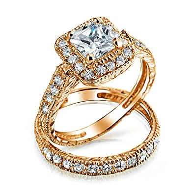 Bling Jewelry Plaza Marquesa AAA Halo CZ Pave Juego Anillo ...