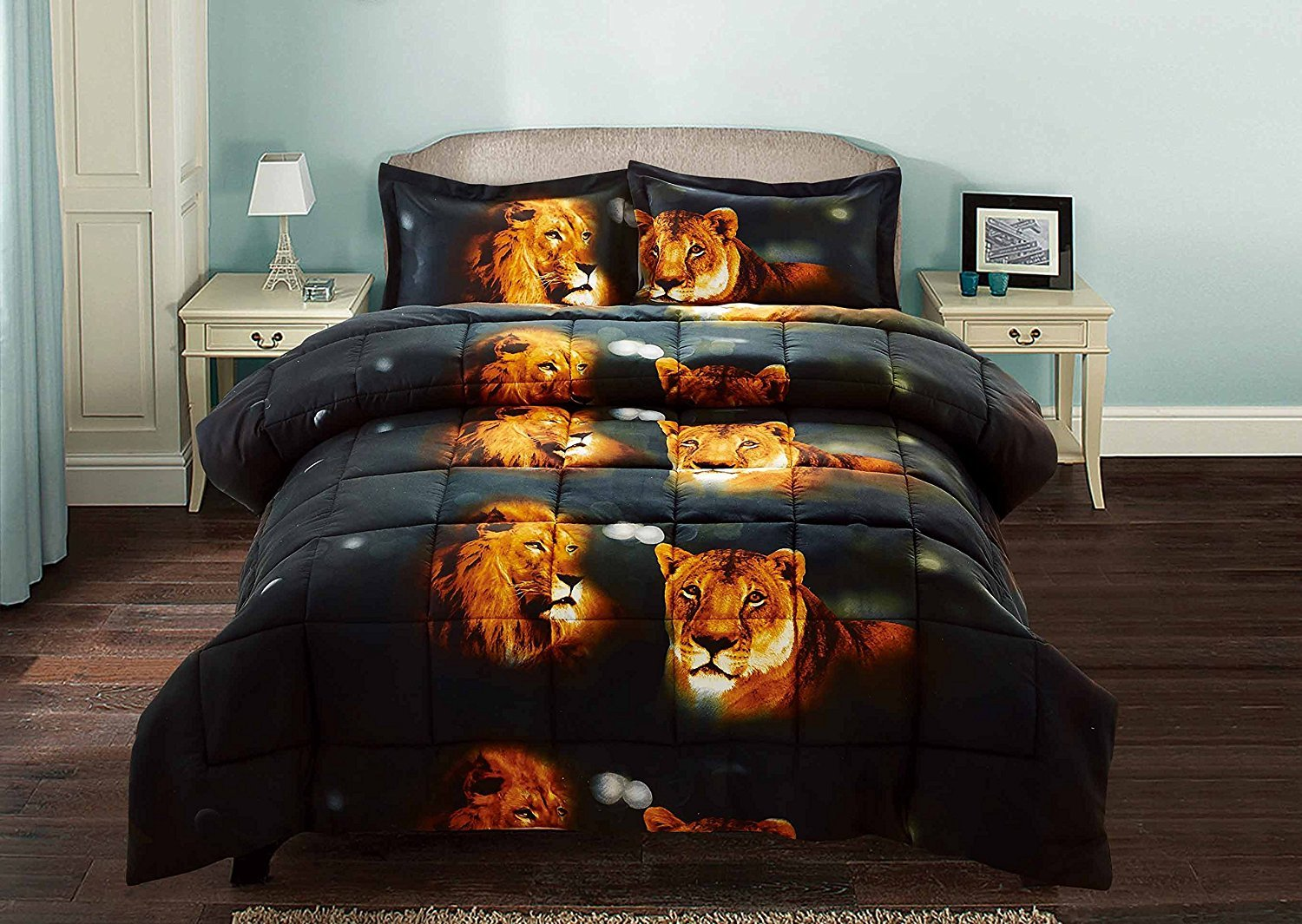 3 Piece Set Beautiful Soft 3d Print Vivid Animals Pattern Box Stitched Comforter Set (1 Comforter,2 Pillowcase) (Queen, Tiger Lion