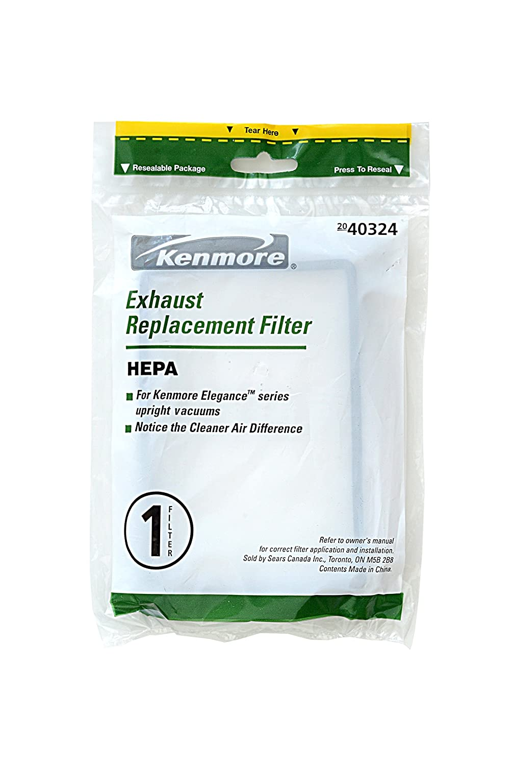 Kenmore 40324 HEPA Exhaust Vacuum Filter. Genuine Kenmore Filter for Canister and Upright Vacuum Cleaners. Package of 1 HEPA Filter