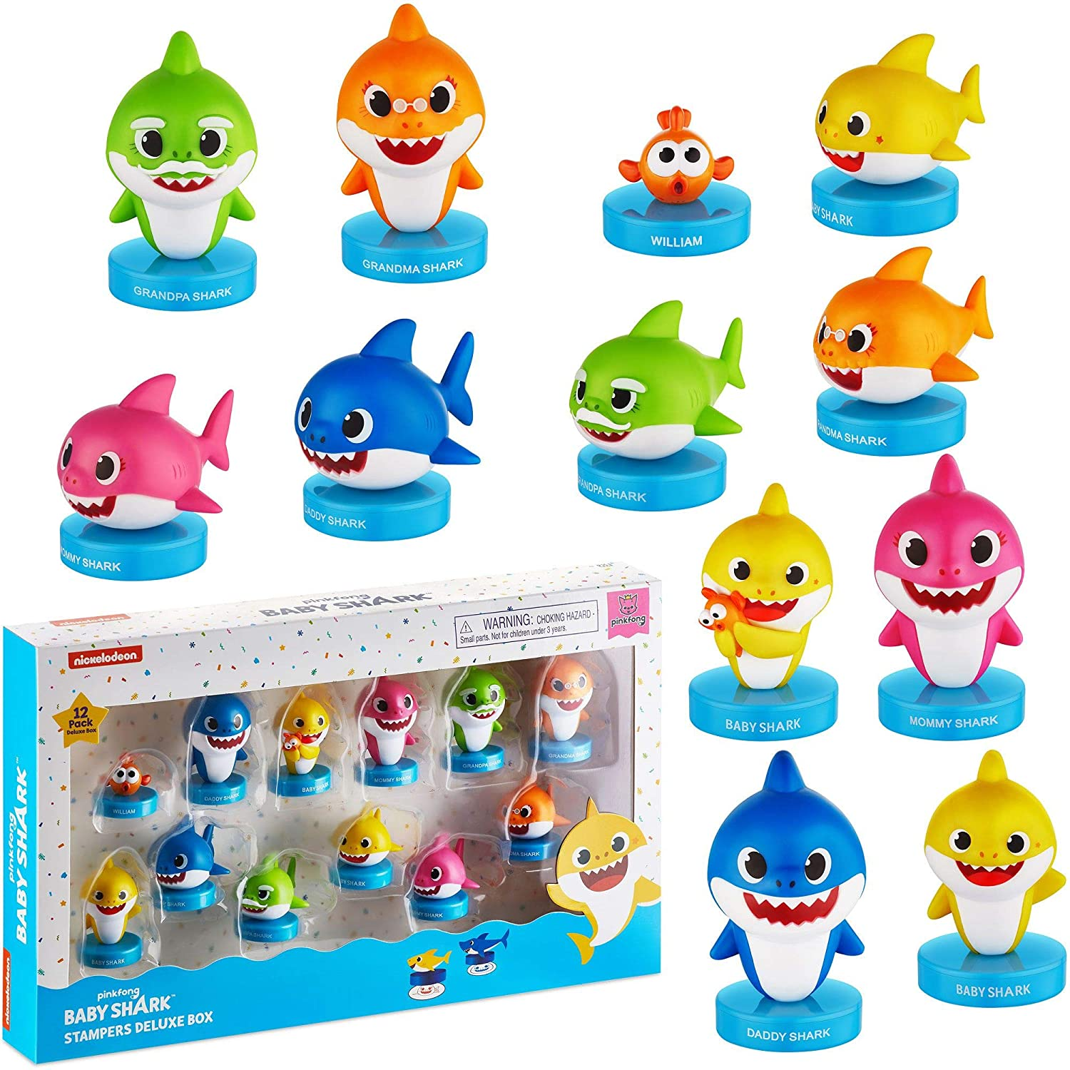 Baby Shark Stampers, 12 Pack – Self-Inking Baby Shark Toys, Action Figures, Party Decor, Cake Toppers – Parent, Baby, Grandparent Sharks and William by PMI, 2.4 in., Soft PVC