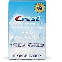 Crest 3D White Teeth Whitening Kit Whitestrips Classic Vivid 10 Treatments, 20 Individual Strips