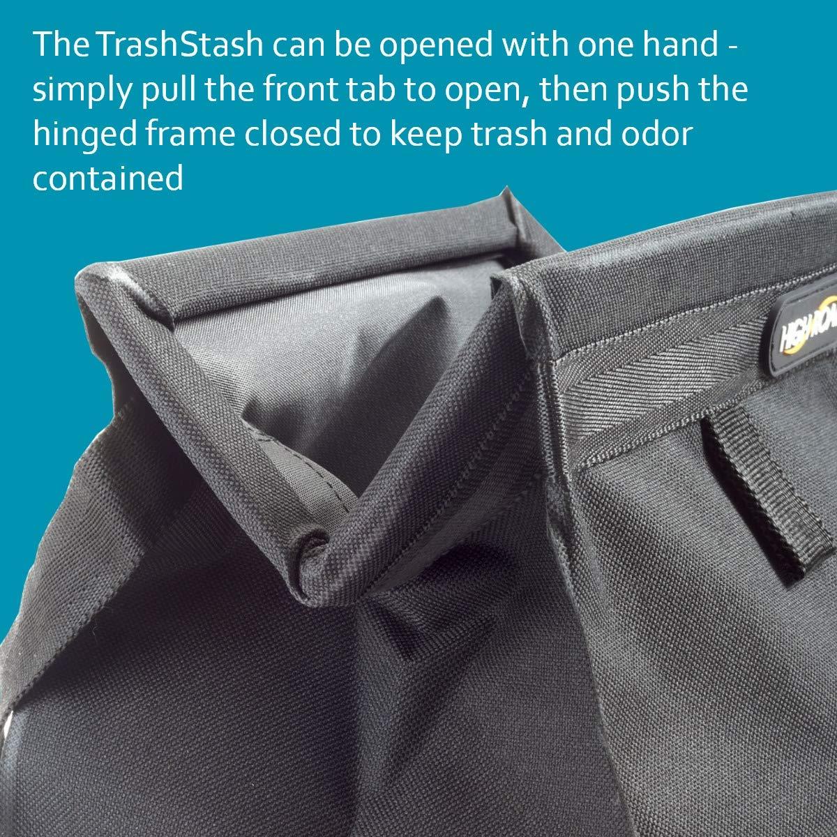 High Road TrashStash Hanging Car Trash Bag with Spring Closure Gray